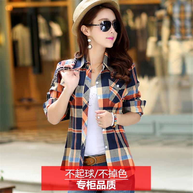 Plaid shirt, long sleeve, Korean version, spring and autumn clothing, cotton, wool, slim womens bottoming shirt, top, large coat