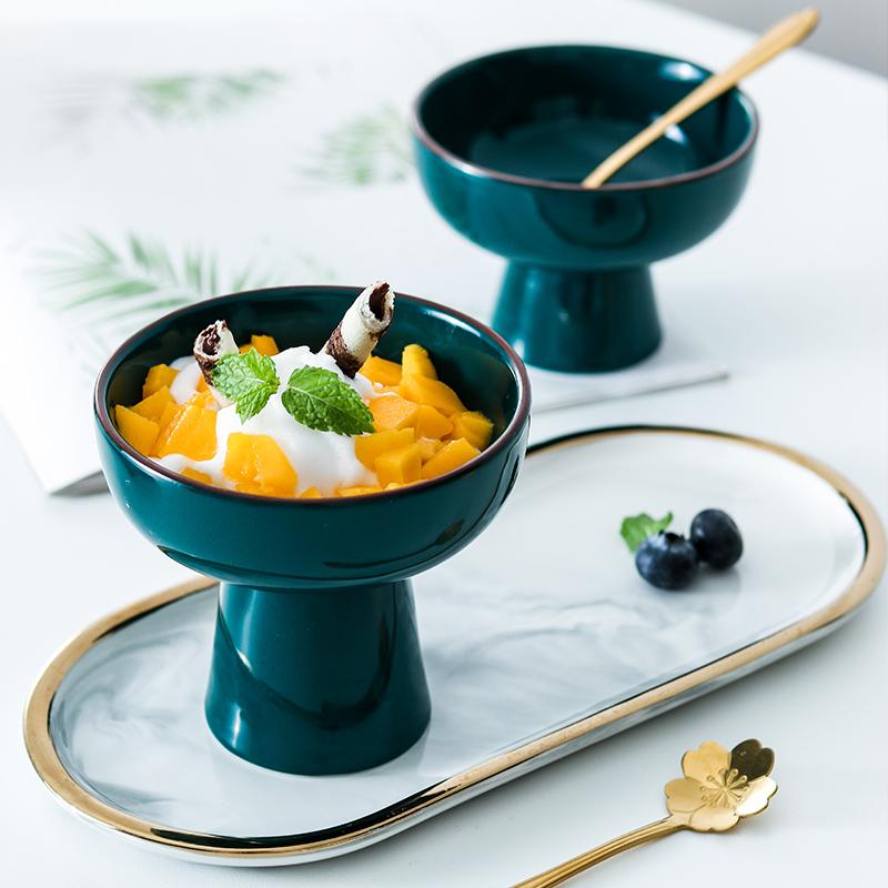 创意高脚陶瓷甜品碗冰淇淋杯子酸奶杯小奶昔杯碗布丁碗雪糕球杯碗