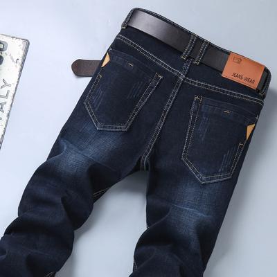 夏季男士牛仔裤男薄款宽松直筒裤弹力商务休闲男士中年大码裤子