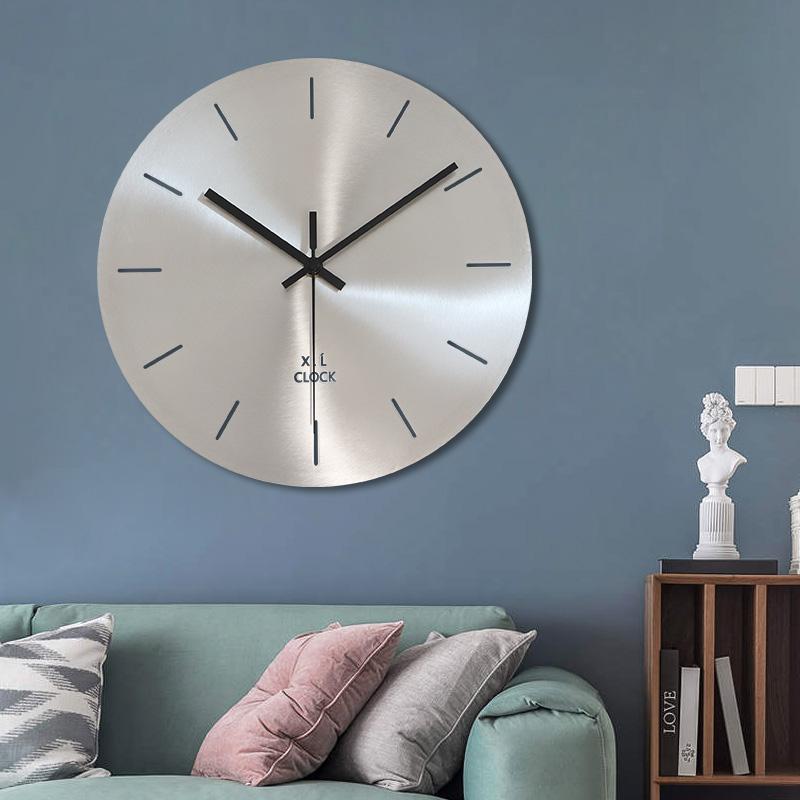 简约创意现代不锈钢客厅挂钟表银色个性时钟无数字家用商用静音圆 Изображение 1