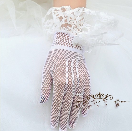 Mesh lace bow Gloves Wedding Dress with white short gloves