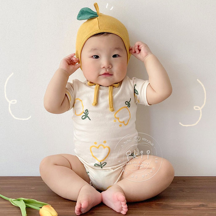 Ikii baby Jumpsuit Korean version foreign pure cotton comfortable and lovely skin friendly sleeveless climbing suit
