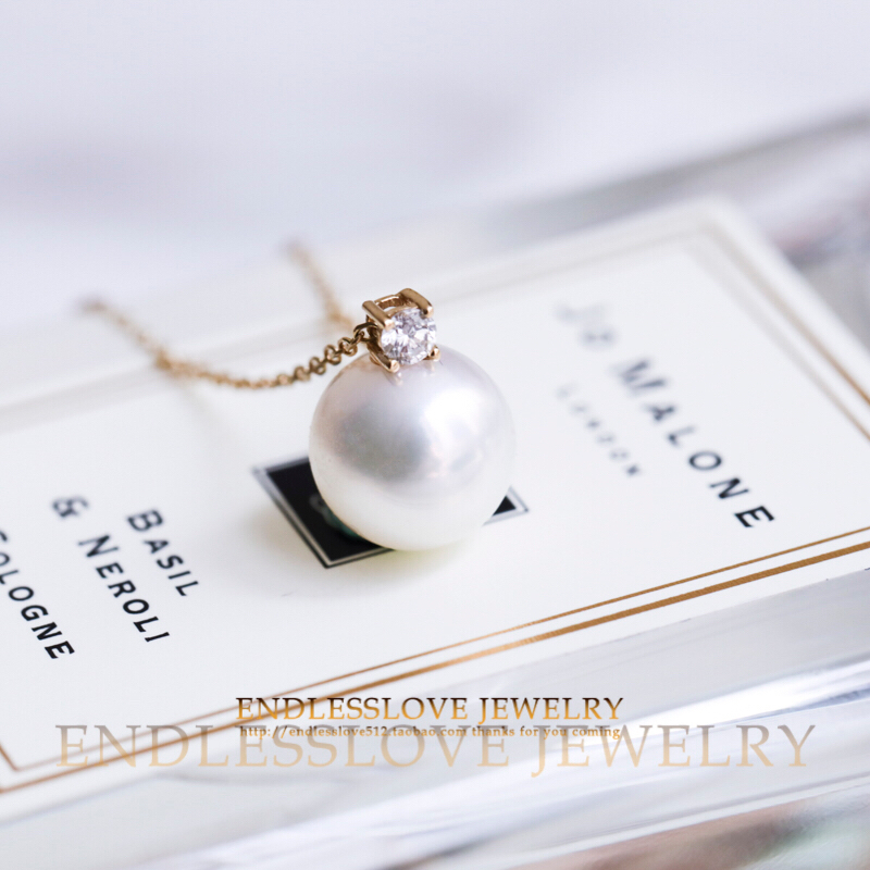 [A406 cocoon breaking 2] classic princess style 18K Gold Diamond Akoya sea pearl necklace
