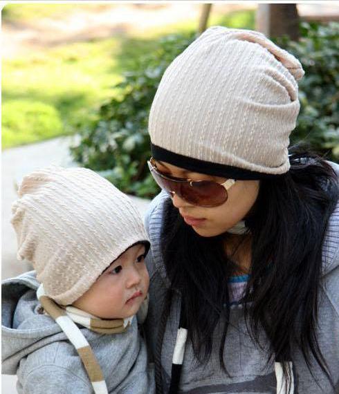 MJBaby韩国麻花双面冷帽儿童帽子亲子帽宝宝帽子小孩套头帽春秋帽