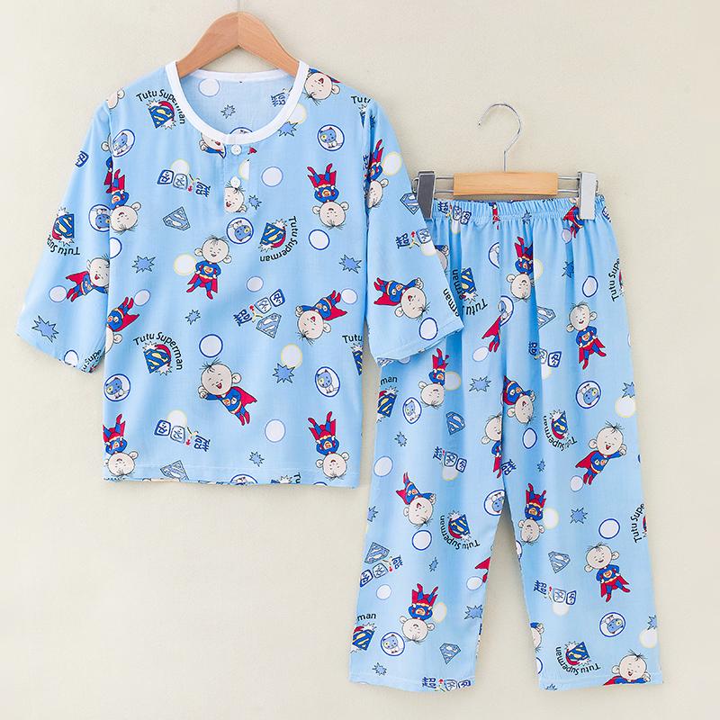 夏季绵绸儿童睡衣套装纯棉绸大童男童女童小孩宝宝睡衣薄款家居服