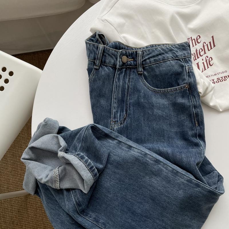 remove/柔软gao端水洗宽松复古高腰直筒牛仔裤 大长裤 女包邮