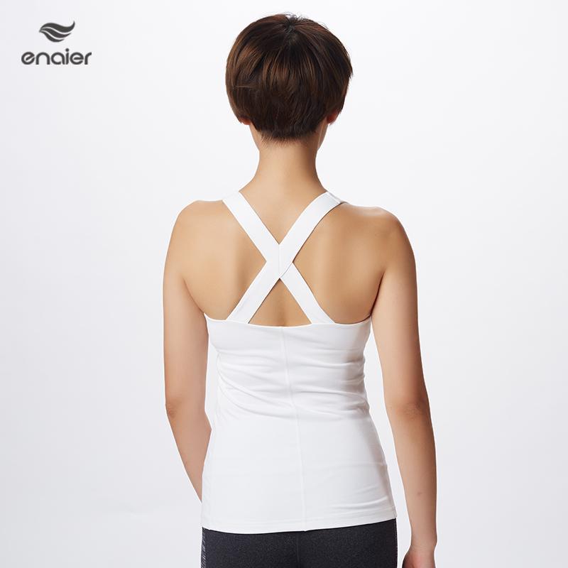 E奈尔 新款专业瑜伽服背心 女士紧身健身上衣带胸垫172021