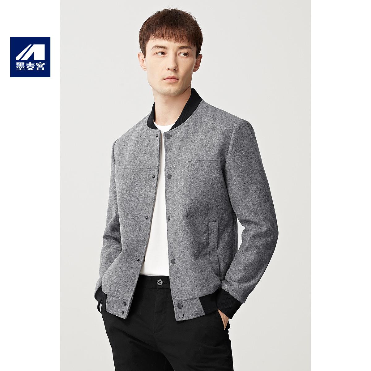 Baseball collar jacket autumn summer mens contrast sports casual coat wool cardigan brand button grey Long Sleeve Shirt