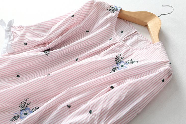 出口欧美外贸尾单清仓女剪标 花朵刺绣袖口蝴蝶结圆领衬衫上衣女