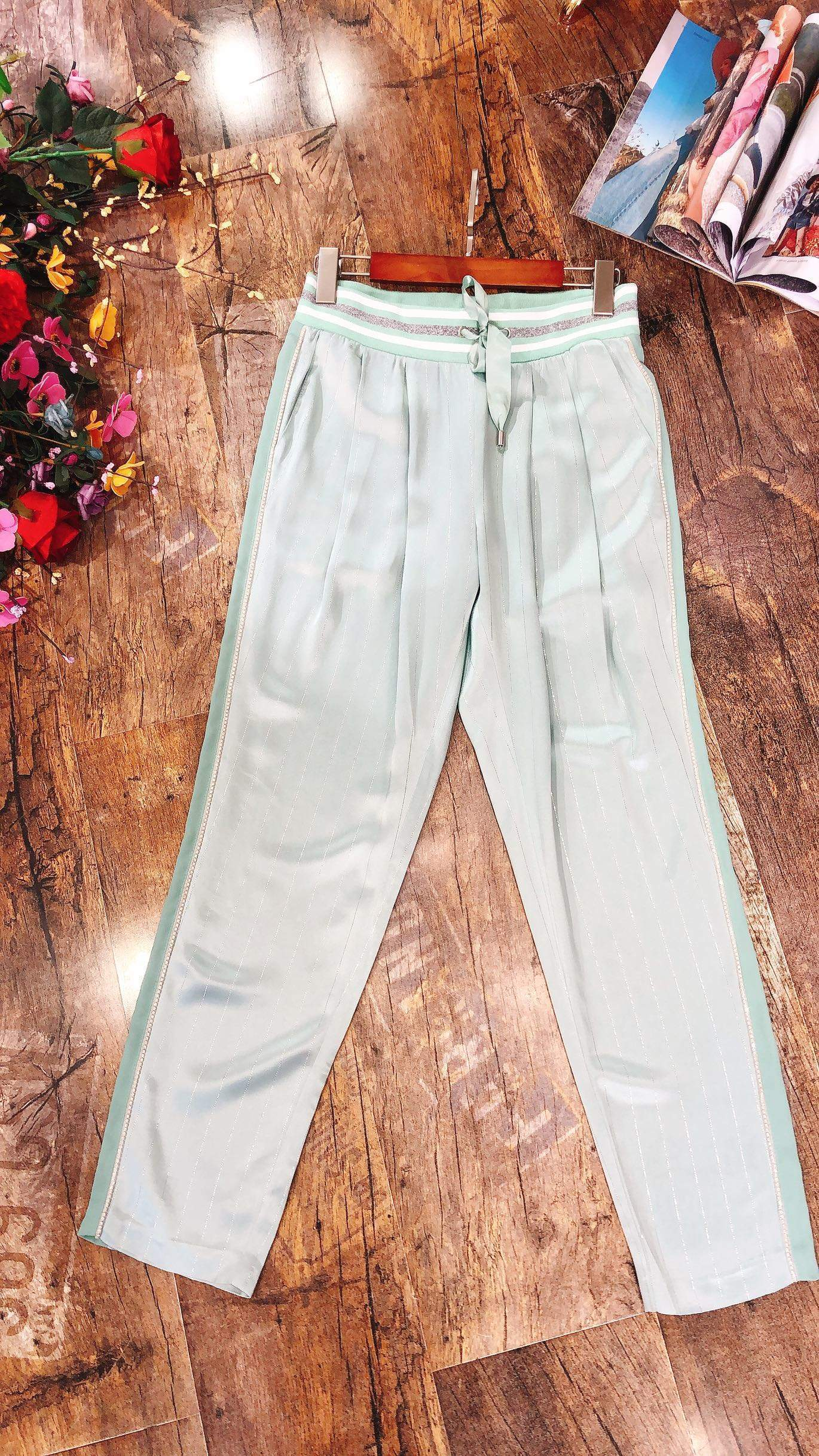 Attinas original high-end custom fabric with diamond stitching, heavy embroidery, bright thread and ankle casual pants for women