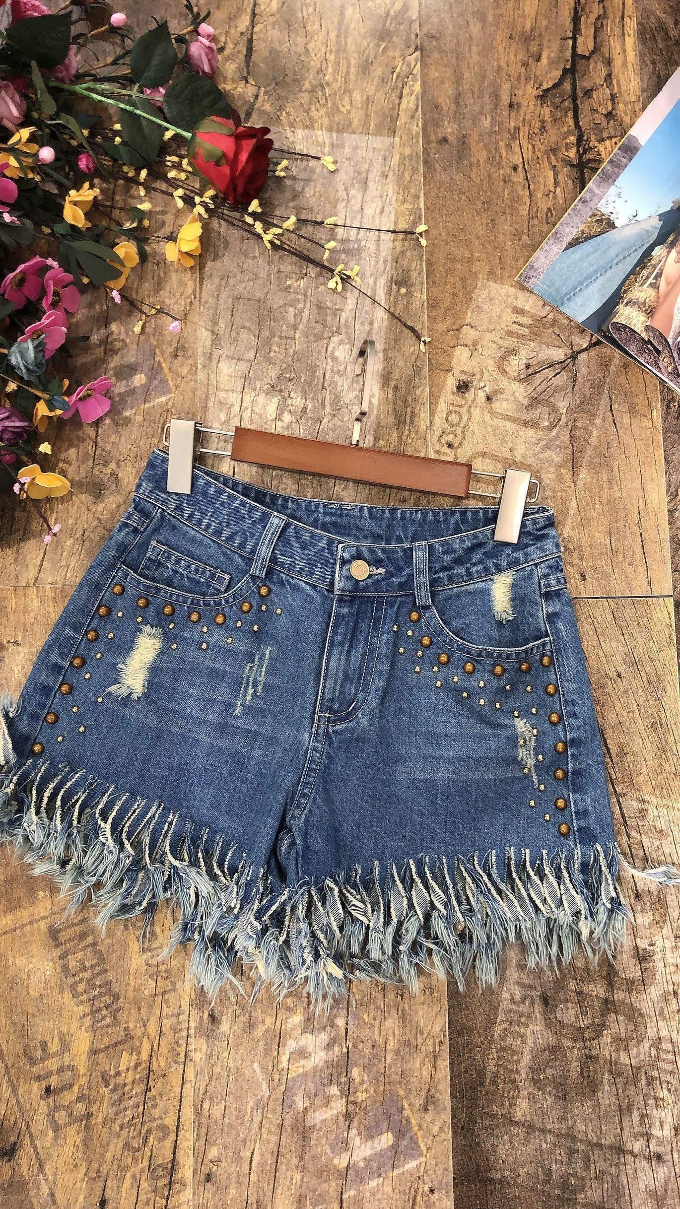 自由的态度原创设计师品牌夏季新款重工钉珠牛仔流苏毛边牛仔短裤