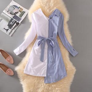 裙子女秋冬收腰显瘦长袖不规则条纹拼接宽松时尚衬衫裙连衣裙子