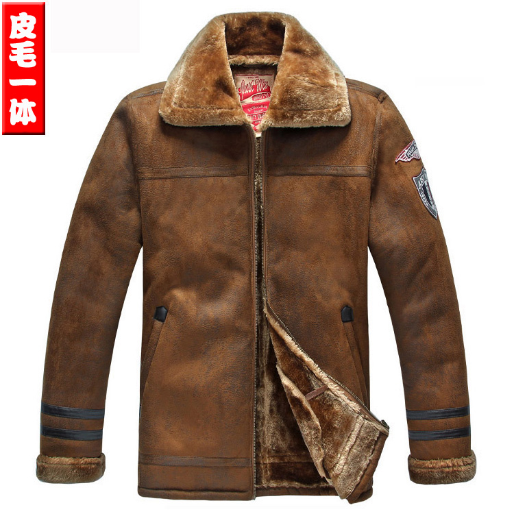 Mens Suede warm fur integrated fur coat winter Large Plush Lapel leather jacket with fur collar thickening coat