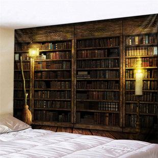 哈利波特書架牀頭卧室客廳牆壁裝飾掛毯房屋直播背景布遮擋布火爐