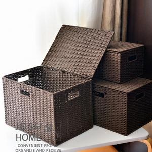 田园藤草编收纳箱储物箱有盖桌面收纳盒衣物整理箱编织篮收纳筐框