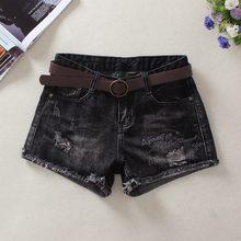 中腰黑色牛仔短裤女春夏显瘦外穿靴裤新款韩版宽松热裤刺绣