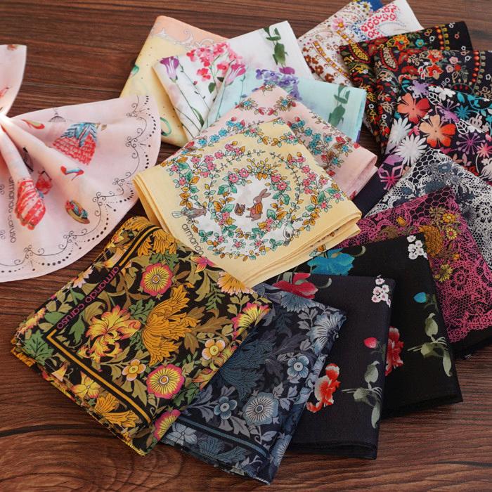 日本女士纯棉印花手帕轻薄全棉柔软吸水优雅淑女随身手绢小方巾