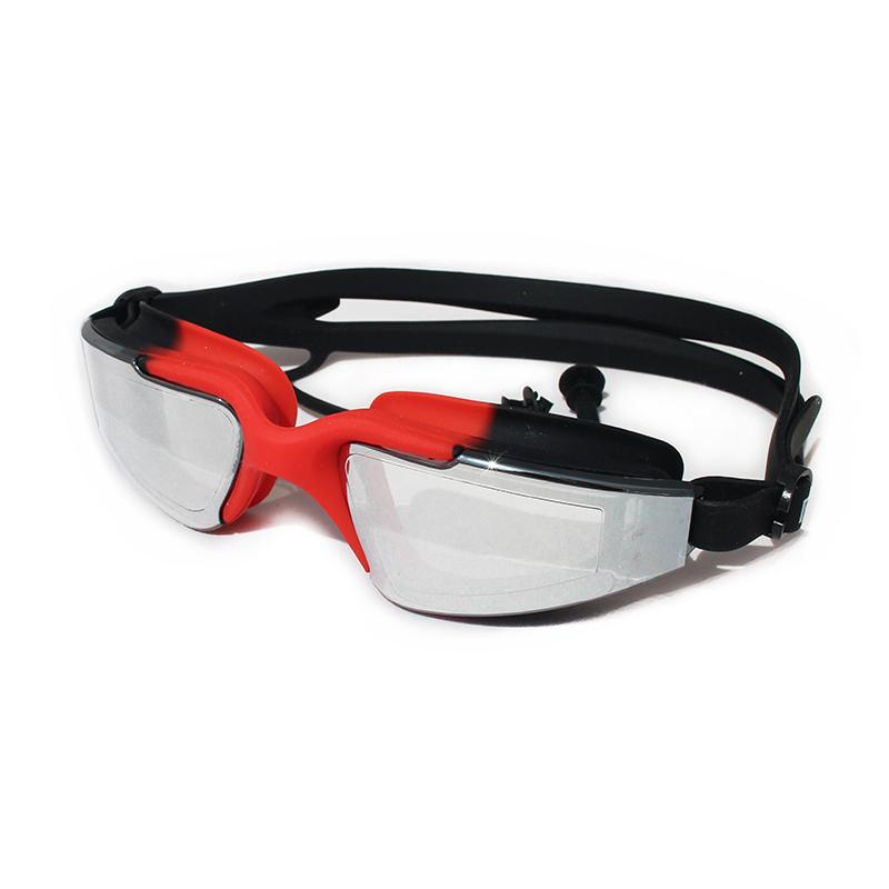 限时2件3折酷型镀膜炫彩泳镜带耳塞游泳眼镜