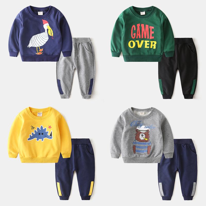 儿童套装秋款2019男童卫衣裤子两件套宝宝卡通运动装女童小孩上衣(非品牌)