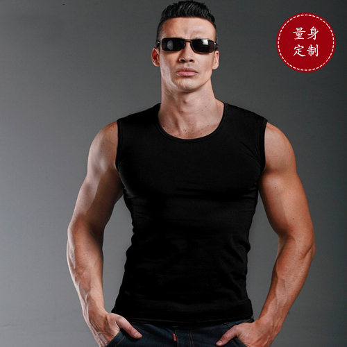 Fashion inside with mens summer tight round neck sleeveless bottomless vest solid color shoulder T-shirt Fitness Sports Top