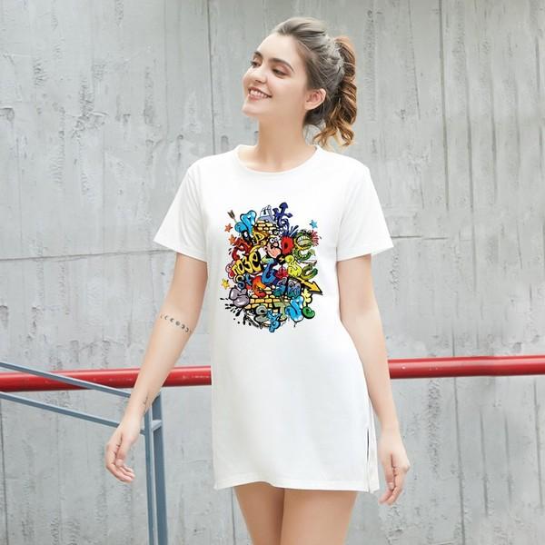 TS11826#夏季新款女装中长款宽松潮T恤短袖印花八色百搭情侣学生