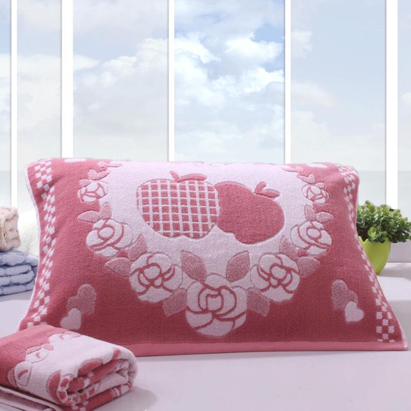 纯棉加厚四季透气通用学生情侣婚庆枕巾一对2条装