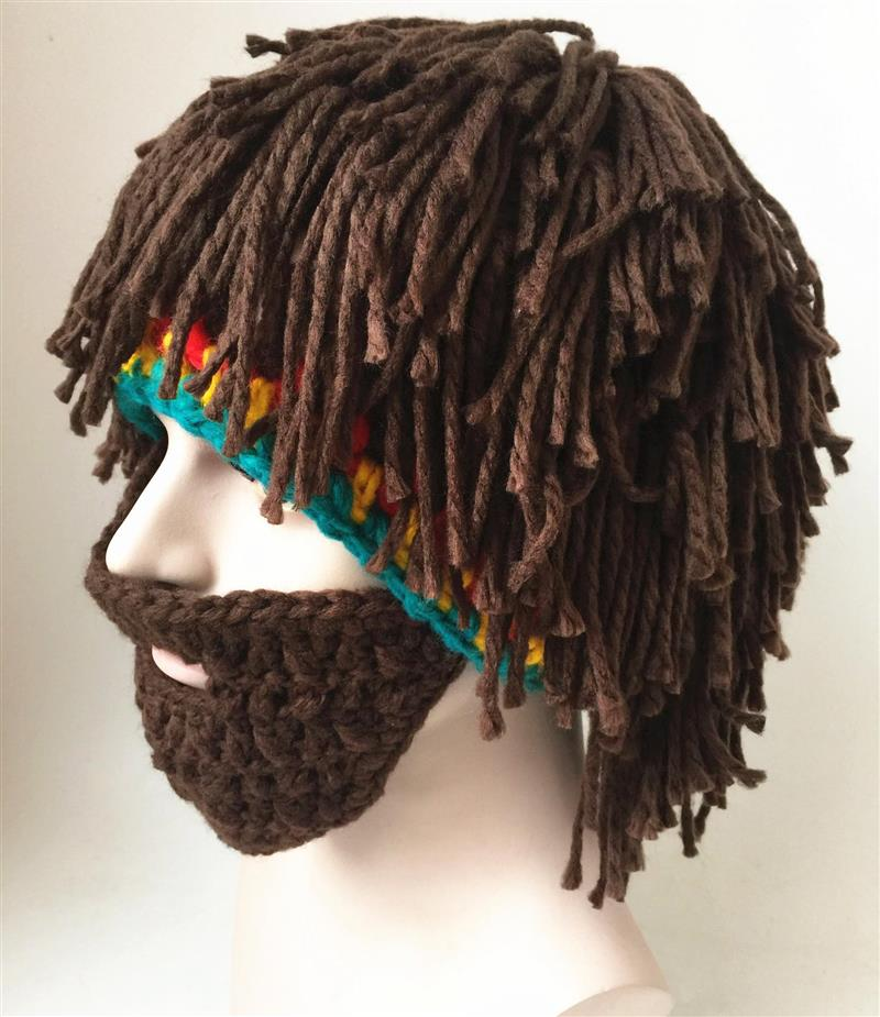 Dirty braid hat creative funny mustache hat adult men and women funny personality handmade WIG HAT wool knitted hat