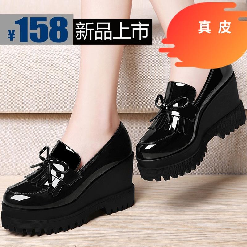 坡跟单鞋2019秋冬新款英伦皮鞋黑色蝴蝶结高跟走秀女鞋子真皮秋鞋