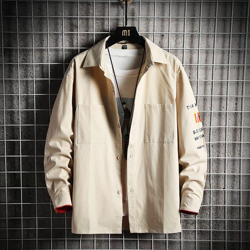 2020青少年秋季新品时尚港风流行韩版衬衫男长袖外套衬衣T77TP50
