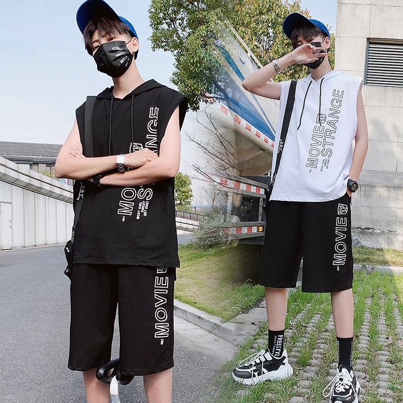 2019套装男韩版青少年夏季新款T恤连帽无袖休闲卫衣两件套D633P48