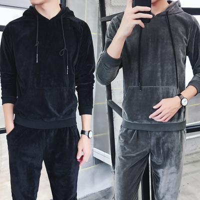 春秋季新款男士休闲运动卫衣男套装潮流韩版男学生两件套D255P75