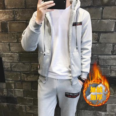 套装男冬季2017新款韩版时尚连帽加绒加厚运动卫衣套装D325TP90