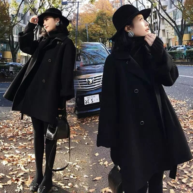 Off season clearance special price new double faced woolen coat in autumn and winter 2020 womens small double breasted woolen coat