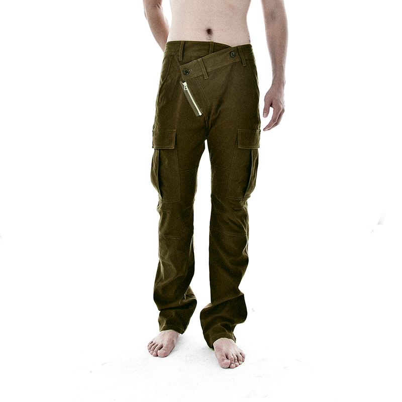 Autumn and winter mens trend leisure fashion pants mens army green low waist slim low crotch small foot tooling Korean pants