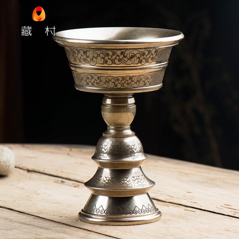 藏村 印度手工酥油灯座 纯铜佛具用品长明灯青铜雕花佛前供灯