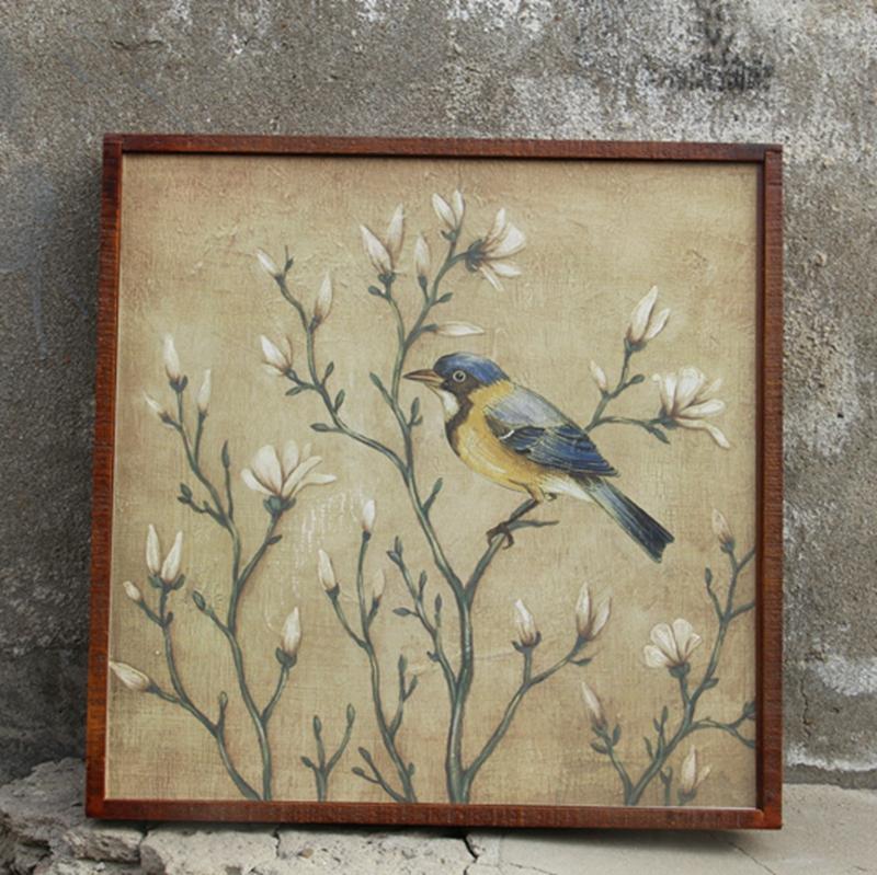 家居木板饰品实木框中式复古花鸟壁挂电表箱挡板画版画装饰画