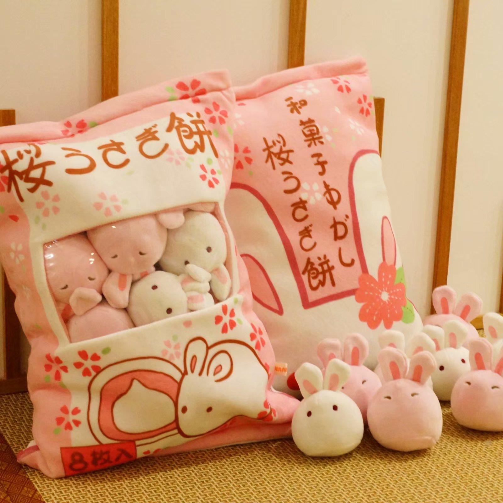 ins可爱日本樱花仿真小兔子团子零食创意抱枕网红少女心毛绒玩具