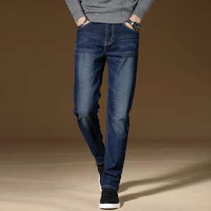 秋季新款牛仔裤男士弹力休闲直筒修身直脚裤长裤子潮W09P38