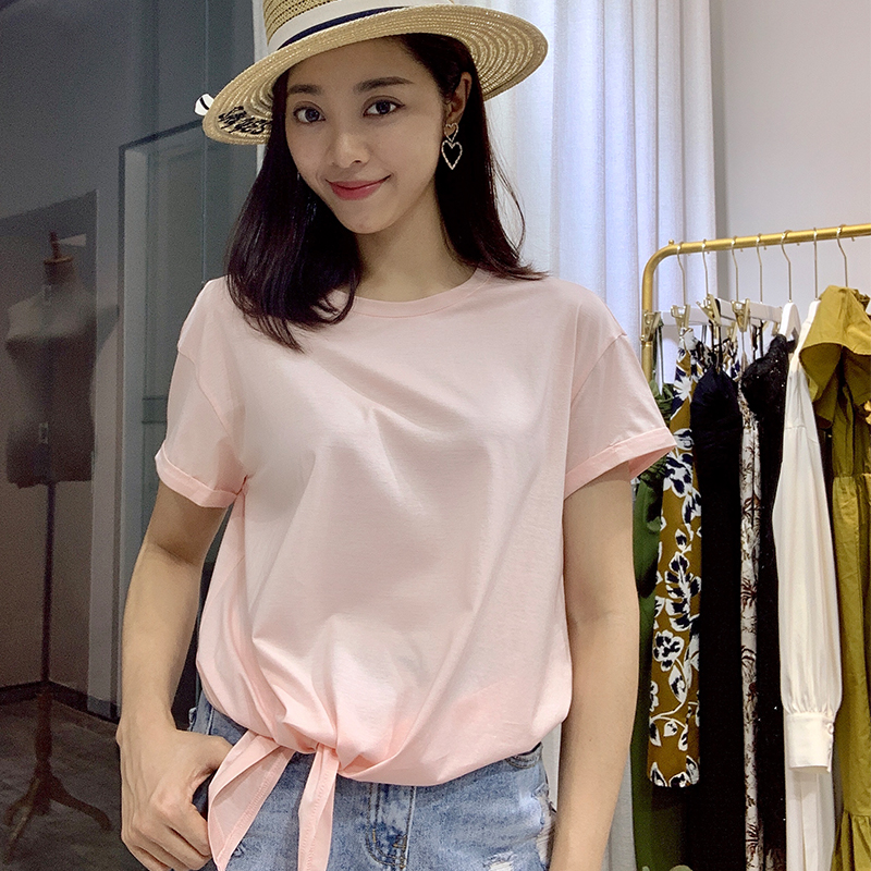 2019 new personalized floral irregular design feeling solid color short sleeve T-shirt for women Xia Xiaozhong loose top