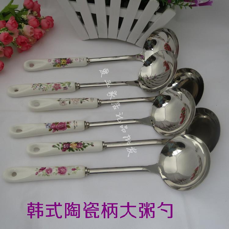 Подлинный тяжелый горшок Керамические ручки посуда ковшевые творческие приготовления ложкой из нержавеющей стали суп ложкой ложки ложка