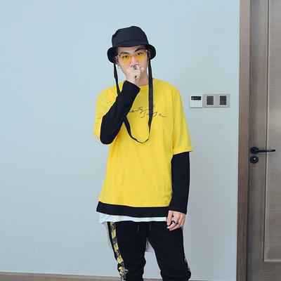 黄黑拼色假两件圆领oversize潮男秋装新款长袖T恤 U1085 P40 控55