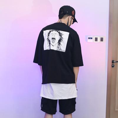 2018夏暴走漫画药丸术街头潮男高街oversize五分袖T恤 U1310 P40