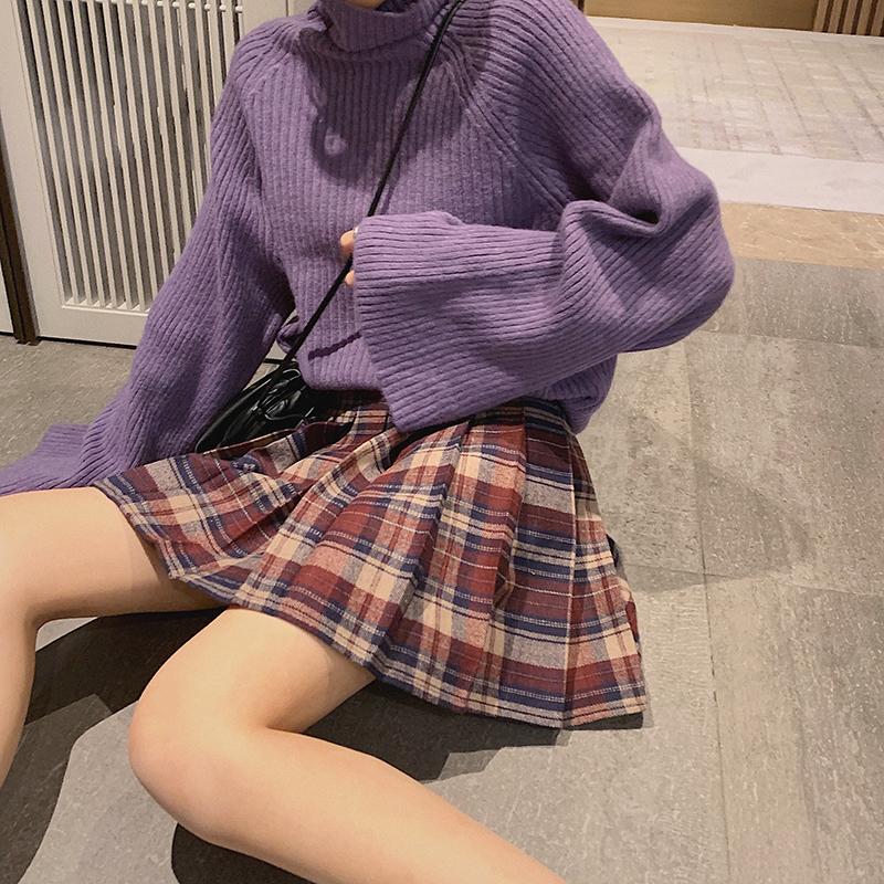 格子百褶裙女春秋2020新款高腰韩版显瘦A字半身裙学生格纹短裙