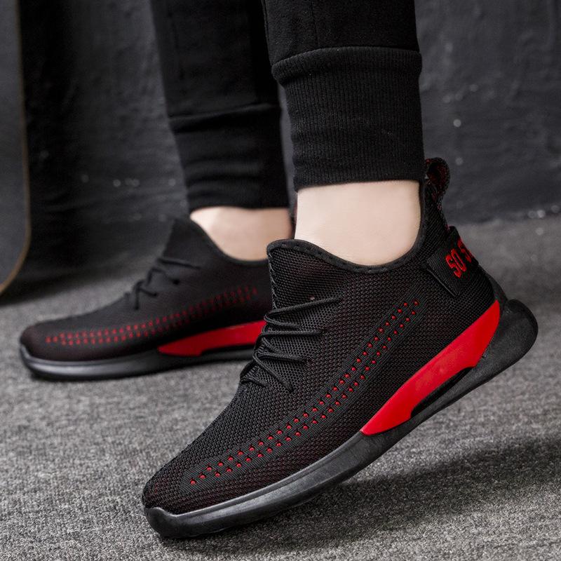 鞋子男潮鞋2019春季网面飞织鞋男士运动休闲鞋韩版潮流黑色跑步鞋