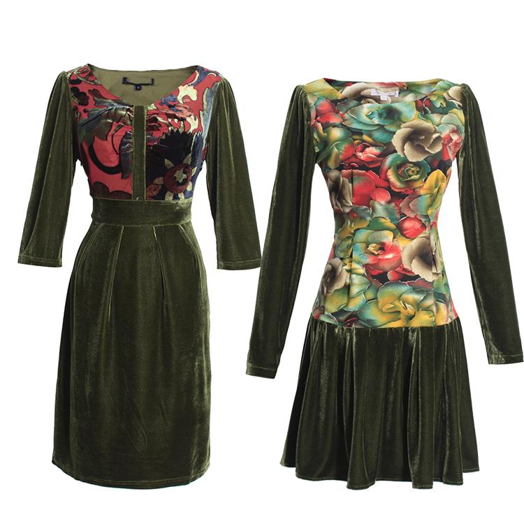 品质柜货 垂坠柔软大码女装意大利西西里风复古大牌感丝绒连衣裙