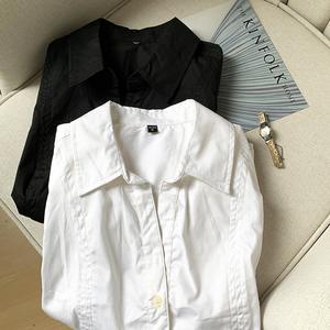 质量上乘/做工考究/经典黑白色短袖衬衫女夏