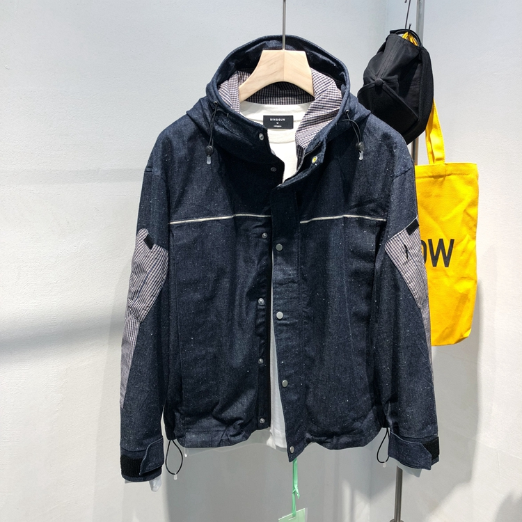 Autumn 2019 new mens Japanese loose and wide hooded patchwork casual harbor fashion short jacket