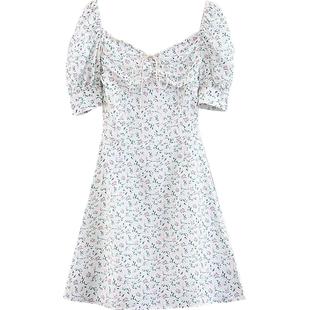 Go Girl Go 法式復古方領繫帶泡泡袖收腰顯瘦連衣裙雪紡碎花短裙