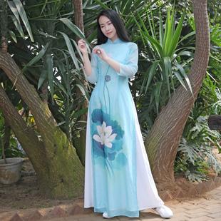 花掌門中國風修身改良旗袍長款年輕款越南奧黛立領茶禪舞服連衣裙