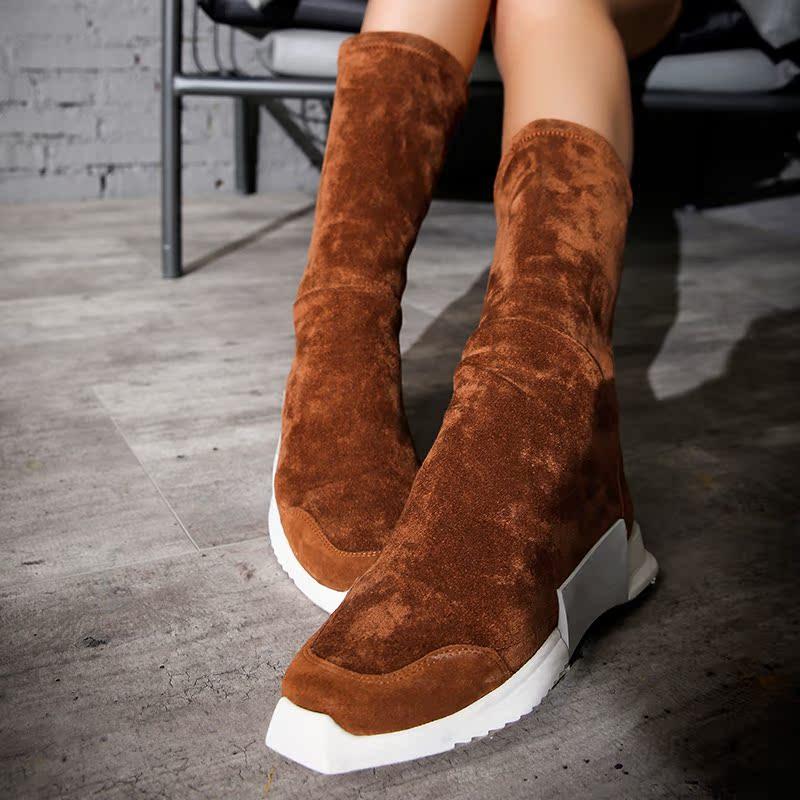 【两件5折】新款牛皮拼接弹力布中筒靴女套筒休闲骑士靴潮S716